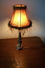 Vintage french bronze boudoir candle lamp  #4 with Vintage Shade Baroque Rococo