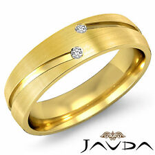 2 Round Bezel Diamond Half Eternity Wedding Men Band Ring 14k Yellow Gold 0.26Ct