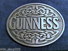 GUINNESS Irish Stout Beer Metal Antique Silver Finish Belt Buckle - NEW guiness