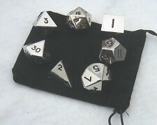 Set of 7 Silver Colored Polyhedral Metal Dice (16mm d6, RPG / dnd Dice)