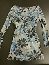 NWOT Anthropologie Sweet Pea blue v neck floral ruched navy mesh empire XS S