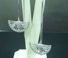 925 STERLING SILVER LONG DROP DANGLE THREADER CUBIC ZIRCONIA FAN DESIGN EARRINGS