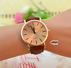 Vintage Mens Womens Ladies Watch Analog Quartz Simple Wrist Watch Coffee