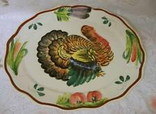 Antique Hand Painted Thanksgiving Turkey Platter Italy Rare