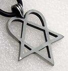 Heartagram HIM Pentagram Pentacle Heart Star Viva La Bam Biker Pewter Pendant