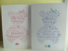 Personalised  Christening / New Baby Word Art A5 Card, Boy or Girl