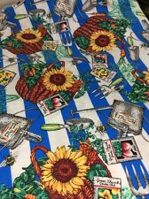1994 JOE BOXER GET TO THE ROOT OF IT GARDEN COTTON FABRIC SUNFLOWER SEEDS