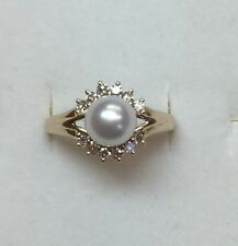 Natural Diamond 7 mm Pearl Halo Ring Solid 14k Yellow Gold Retails $ 1200