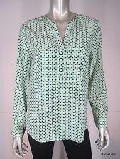 JOIE M Silk Mod Geometric Print Long Sleeve Green Blue Ivory Tunic Blouse EUC