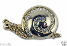 Vintage Snail Pin Brooch Gold  Metal Clear & Color Rhinestones Monet Signed
