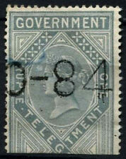 India 1869-78 SG#T9 1R Grey Die II Telegraph Revenue QV Stamp Used #D31321