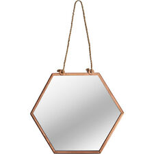 Small Hexagonal Mirror Vintage Copper Metal Frame Wall Hanging String Loop