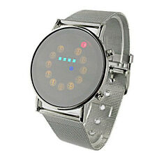 4 Colors  Digital LED Light Stainless Steel Fashion Mens Wrist Watch Sport Watch
