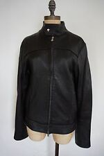 Dolce & Gabbana black leather 1/4 zip sleeves cafe full zip jacket women size S