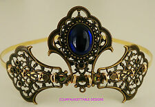 COMPLETE SET TUDOR MEDIEVAL SAPPHIRE ORNATE TIARA NECKLACE & EARRINGS LARP REN