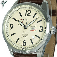 New SEIKO 5 SPORTS AUTO CREAM FACE WITH BROWN LEATHER BUCKLE STRAP SSA295J1