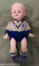 #DD7.  OLD  CANTERBURY  RUGBY LEAGUE DOLL WITH KNITTED UNIFORM & TWO PINS