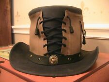 New Steampunk Western Brown/Black Leather Vested Corset Top Hat Size M Handmade