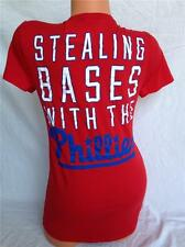 Victoria's Secret PINK PHILADELPHIA PHILLIES V-neck T-shirt 'Stealing Bases' M
