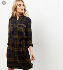 New look Navy Belted Check Shirt Dress BNWT Size 8 RRP-£24.99