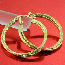 AN634 GENUINE REAL 18K YELLOW  G/F GOLD SOLID CLASSIC TWIST HOOP EARRINGS