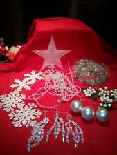 VINTAGE CHRISTMAS LOT ORNAMENTS,STAR TOPPER, WIRE GARLAND BEADS,IRIDESCENT WHITE