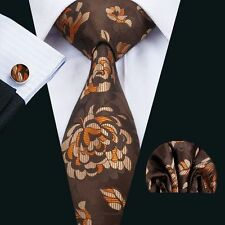 SN-1470 Newest Brown Floral Mens Tie Necktie Silk Hanky Cufflinks set Business