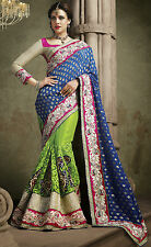 Blue Green Indian Designer Party Wear Saree Heavy Bollywood Bridal Wedding Sari