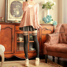 Lady Girl Punk Slim Mock Over The Knee Double Stripe Stockings Pantyhose Tights