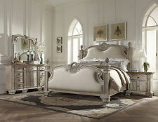 ELENA - 5pcs Old World Antique White Kiing Poster Mansion Bedroom Set Furniture