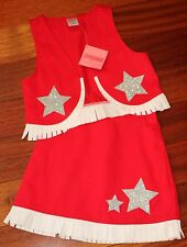 GYMBOREE Girl's COWGIRL COSTUME ~ Red Silver Stars Fringe HALLOWEEN New XS 3-4
