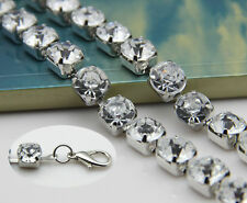 1 Row Diamante/Diamond Ladies Waist Chain/Charm Belt in Silver - 1 Size Fits All