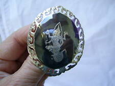LARGE VINTAGE SIAM STERLING SILVER GODDESS OF LIGHT BROOCH circa 1960