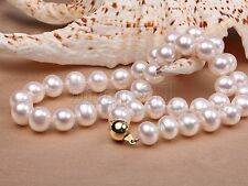 10-11mm Genuine Natural White Akoya Freshwater Pearl Necklace 18'' AAA+