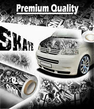 1500mm x 300mm Black & White SKATE StickerBomb Vinyl - Gloss Car Wrap Sticker
