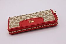 NWT Coach 46641 Madison Op Art Accordion Zip Wallet Light KHAKI / PAPAYA