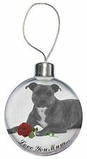 Staffie (B+W) Rose 'Love You Mum' Christmas Tree Bauble Decorati, AD-SBT6R2lymCB