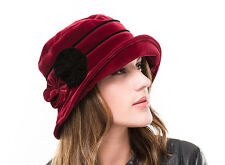BRAND NEW LADIES MAROON  VELVET WINTER CLOCHE STYLE HAT ROSIE