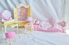 "BARBIE BEDROOM ""BARBIE FOLDING PRETTY HOUSE"" 1996 MÖBEL KOMPLETT   SEHR SELTEN"