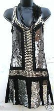 SIZE 8 FLAPPER CHARLESTON GATSBY DECO STYLE RETRO SEQUIN DRESS BLACK US 4  EU 36