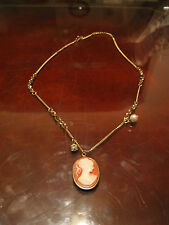 Vintage Silver Tone Mounted Cameo Pendant w/ Gold Tone Chain Necklace