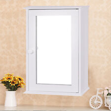 New Bathroom Wall Cabinet Single Mirror Door Cupboard Storage Wood Shelf White