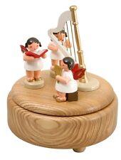 Musikdose natur 3 Engel bunt und Harfe 15cm Spieluhr NEU Seiffen Weihnachten