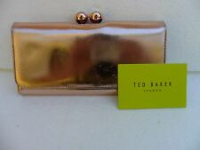 TED BAKER METALLIC ROSE GOLD LEATHER WALLET.