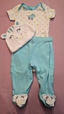 Baby Girls 3 pc Carters Zebra Outfit Size 3 Months  #321