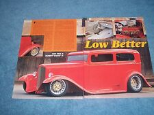 "1932 Ford Tudor Sedan Vintage Street Rod Article ""Low Better"""