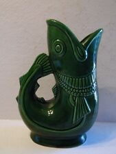 Green Glaze Gluggle Jug Fish Pitcher 7 1/2 Inches Tall Unmarked