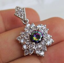 18K White Gold Filled MYSTICAL Rainbow Topaz Star Flower Cocktail Pendant 1PC