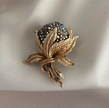 "CORO""Chateau Rose"" Watch Brooch Pin. WORKING! Floral AB Rhinestones. Pegasus"