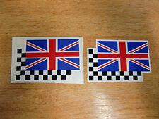 2 off racing flag stickers/decals -  75mm x 50mm  //  Union Jack  & Checkers